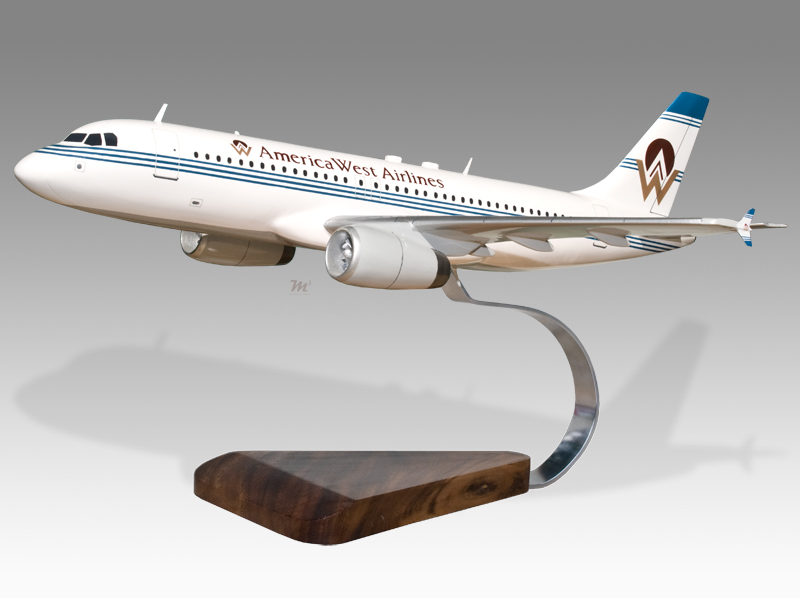 Collectables Airbus A320 America West Airlines Solid Mahogany Wood Handcrafted Desktop Model Models