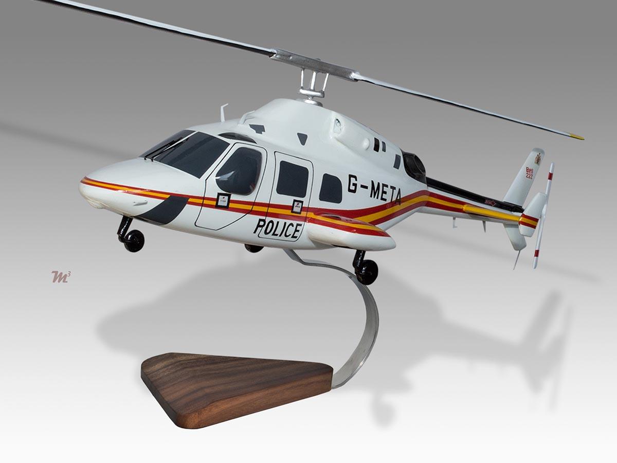 Bell 222 Metropolitan Police Air Support Unit Solid Wood Helicopter Desk Model Ebay