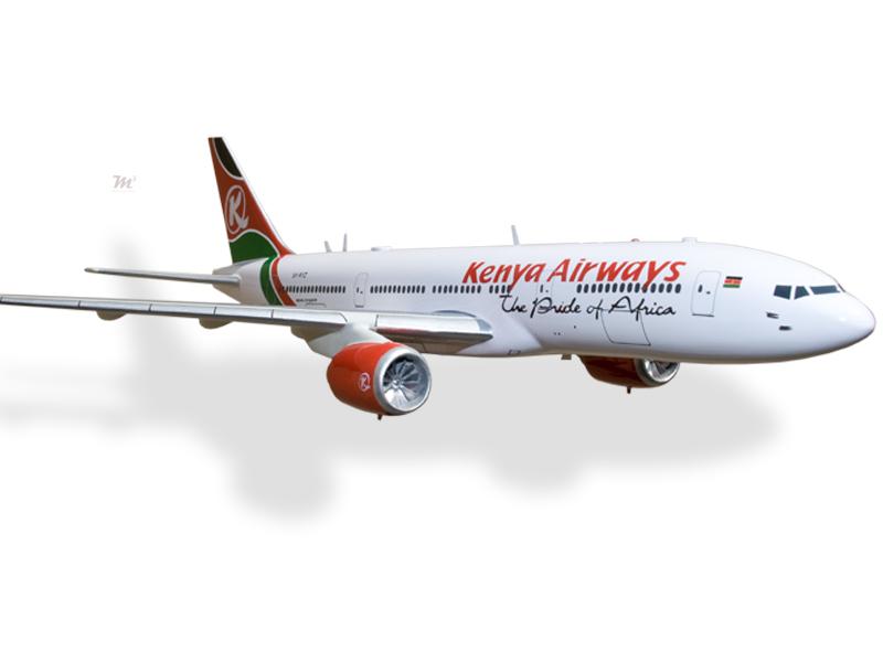Beautiful Boeing 777-200er Kenya Airways Kiln Dried Mahogany Wood Handmade Desktop Model Aeronautica Airlines