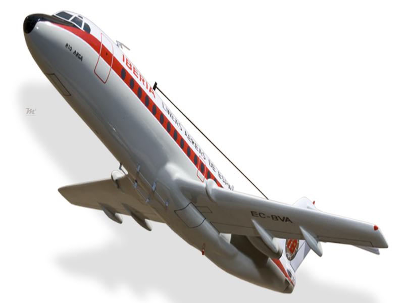 Fokker F28-1000 Fellowship Iberia Solid Mahogany Wood Desktop Airplane Model Airlines