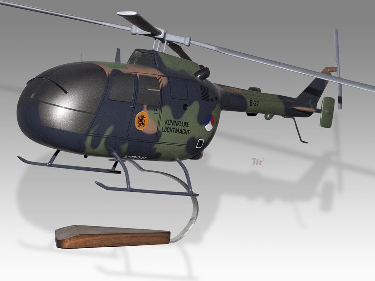 Messerschmitt Bolkow Blohm Bo-105s Air Med Acadian Solid Wood Helicopter Model Clients First Models