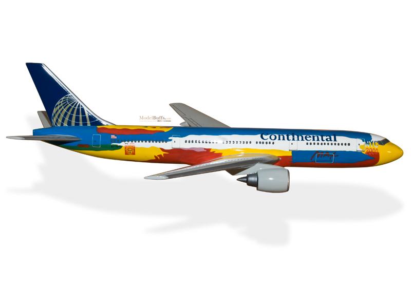 Models Airlines Boeing 777-200 Continental Solid Mahogany Kiln Dried Wood Handmade Desktop Model